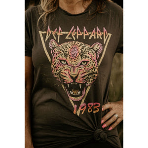 Def Leppard Neon Cat Women's Rolled Sleeve Boyfriend Tee