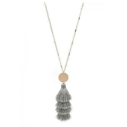 "Gold 34"" Necklace with Grey Layered Fabric Tassel with Gold Accent - Shabby 2 Chic Boutiques"