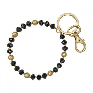 Black Crystal & Gold Key Ring - Shabby 2 Chic Boutiques
