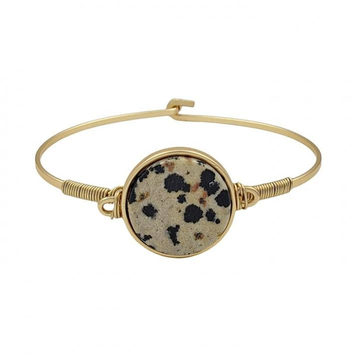 Dalmatian Natural Stone on Gold Hinged Bracelet