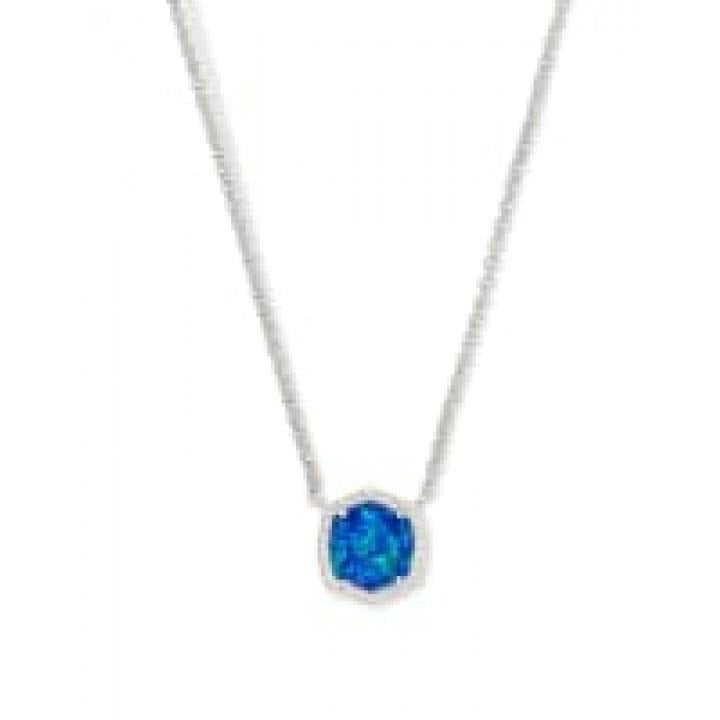 Davie Silver Pendant Necklace In Royal Blue Kyocera Opal