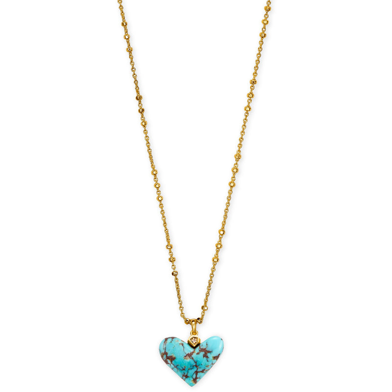 Poppy Short Pendant Necklace in Vintage Gold Turquoise