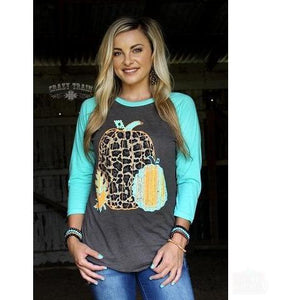 Leaves of Leopard Baseball Tee - Shabby 2 Chic Boutiques