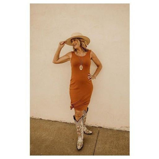 Simplified Style Rust Midi Dress - Shabby 2 Chic Boutiques