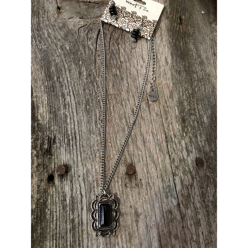 Small Burnished Silver & Black Pendant on Chain - Shabby 2 Chic Boutiques