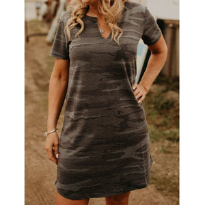 Camo Split Neck Dress - Shabby 2 Chic Boutiques