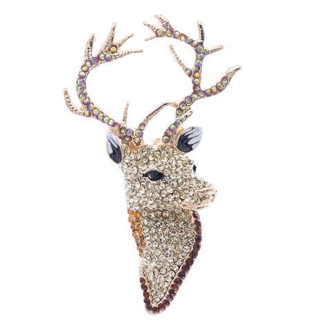 Regal Deer Head Brooch