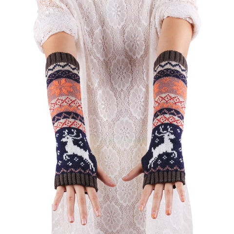 Deer Snowflake Knit Fingerless Gloves