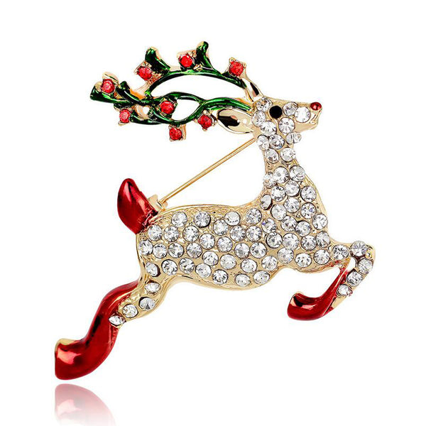 Leaping Deer Christmas Brooch