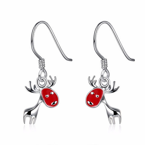 """Red in the Face"" Deer Holiday Earrings"
