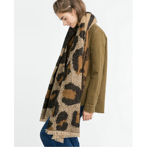 Oversized Leopard Print Winter Scarf Shawl
