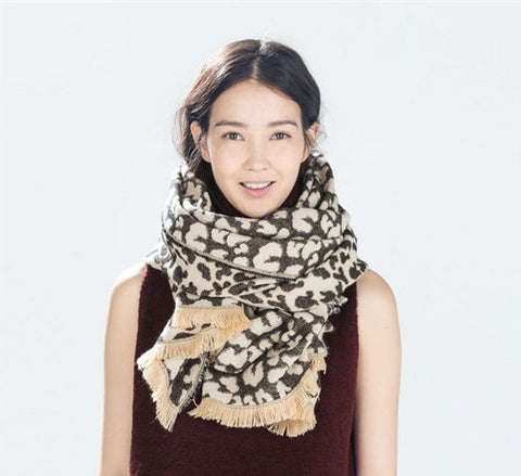 Unique Leopard Print Pattern Winter Scarf Shawl