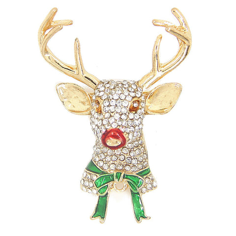 Deer Head Christmas Bow Brooch