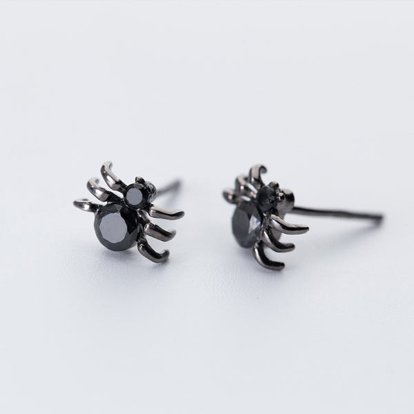 Black Spider Stud Earrings