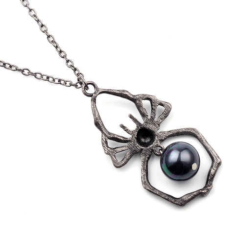 Gothic Black Spider Necklace