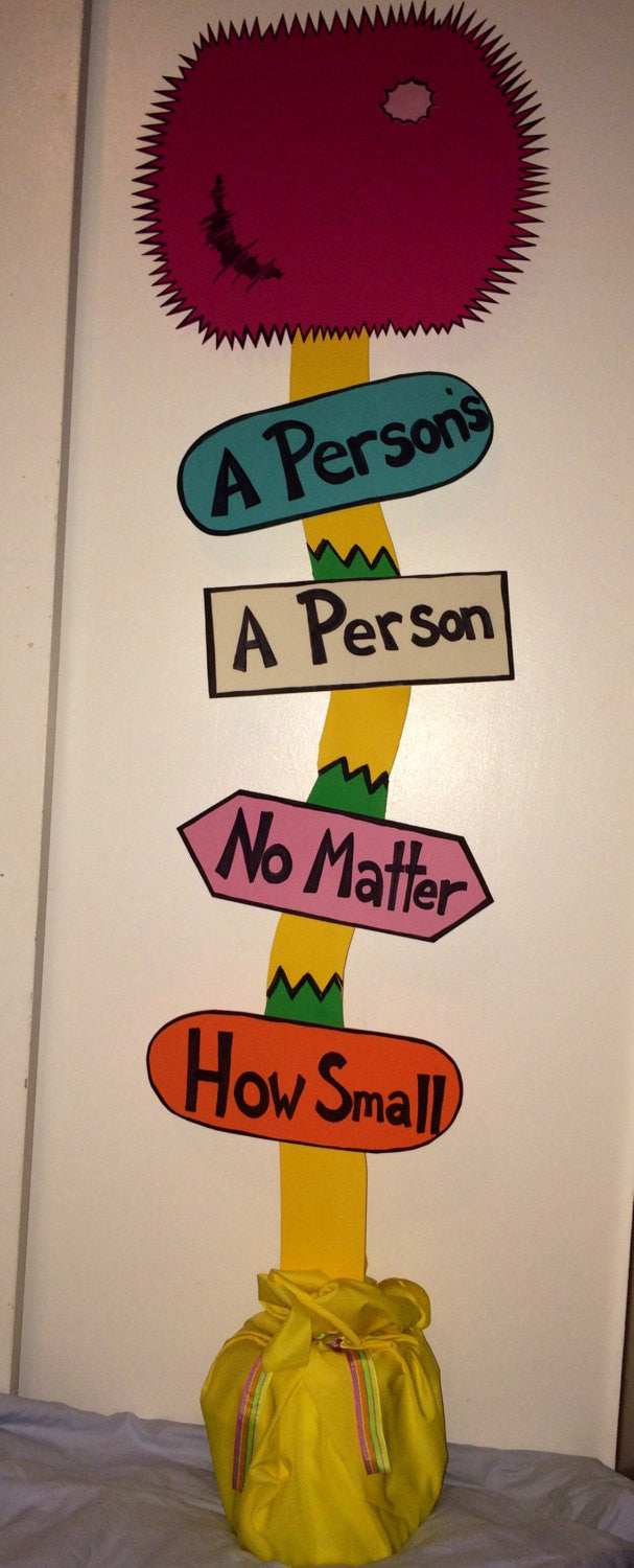 Horton hears a who! A person's a person no matter how small sign baby shower nursery birthday classroom decor