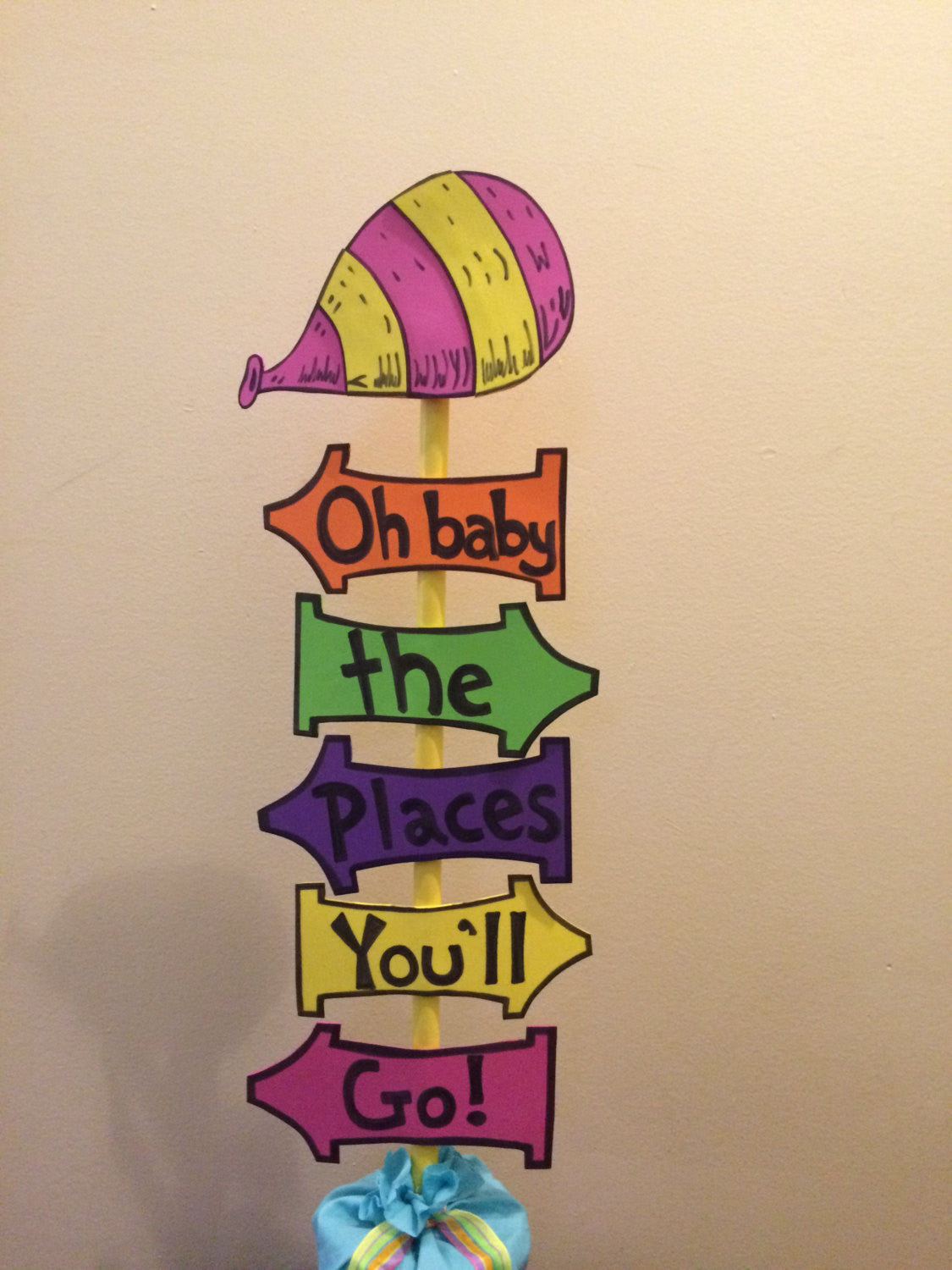 "Tabletop ""Oh, the Places You'll Go!"" Inspired directional sign centerpiece"