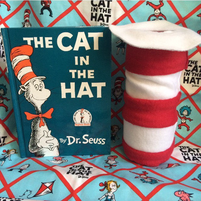 Cat in the Hat vase, center piece, pen holder for guest book table or teacher INDIVIDUAL