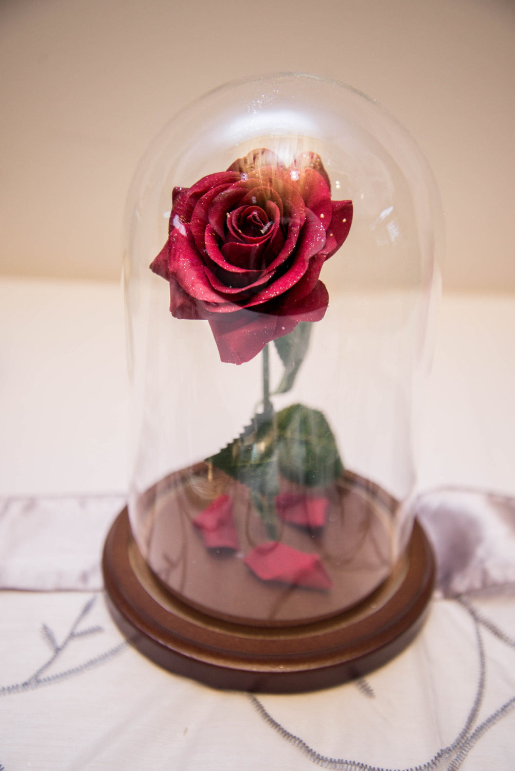 SALE!!! Beauty and the Beast Enchanted Rose Jar Dome Belle W/ vintage style hand mirror Valentine's Day gift
