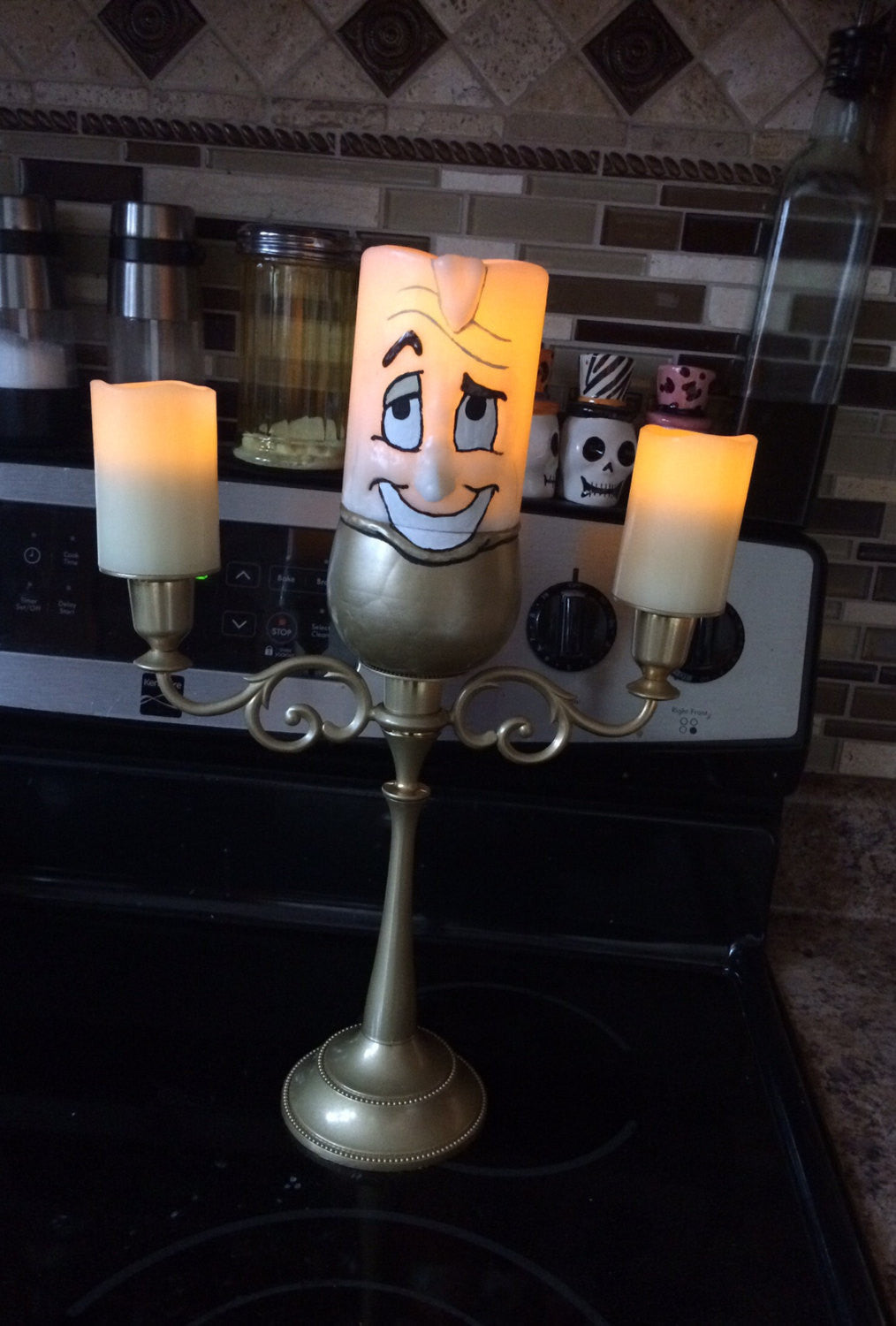 SALE!!! Lumiere Beauty and the Beast LED Candelabra Replica Figure Light-Up Candle Stick Holder Sculpture Prop Decor