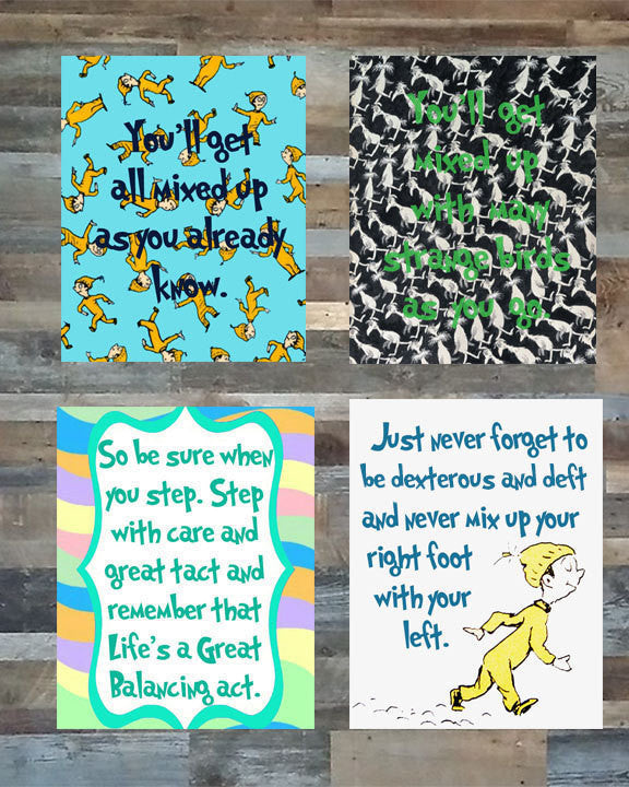 Dr Seuss Oh the places you'll go inspired wall art digital instant download Blue/green Boys Version Set of 4 nursery dorm room decor