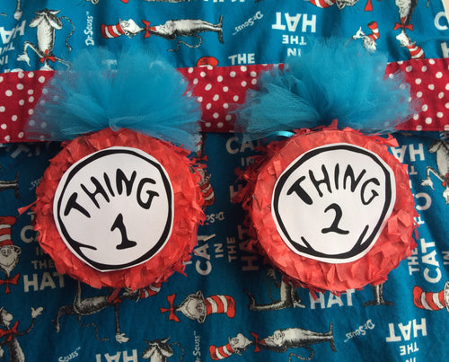 Dr Seuss Cat in the Hat inspired thing 1 thing 2 mini pinata favors