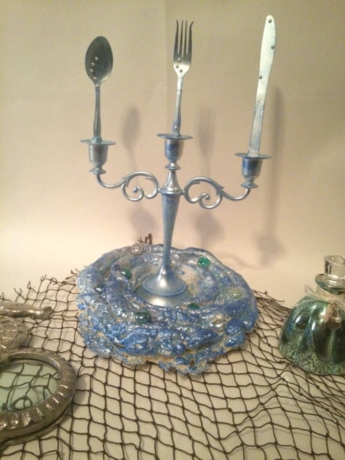 SALE!!!! Little mermaid inspired dinglehopper candelabra decor with coral reef base accent