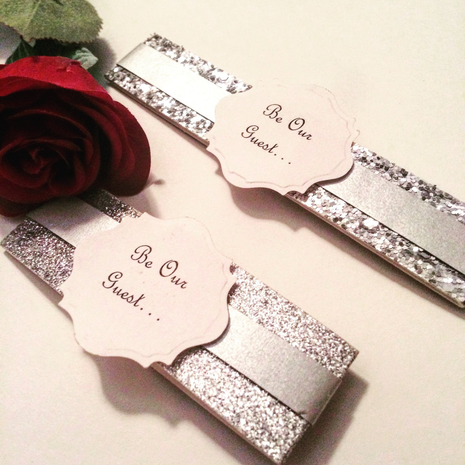 "Beauty and the Beast ""Be Our Guest"" belly bands Disney wedding invitation Set of 25"