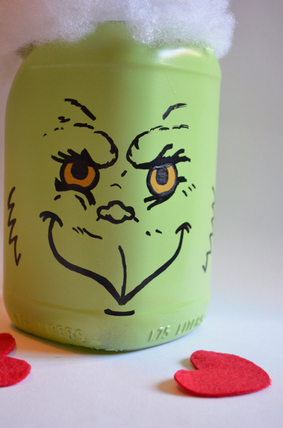 Dr Seuss Grinch inspired Hand painted Bottle Bourbon Bottle Decor Centerpiece