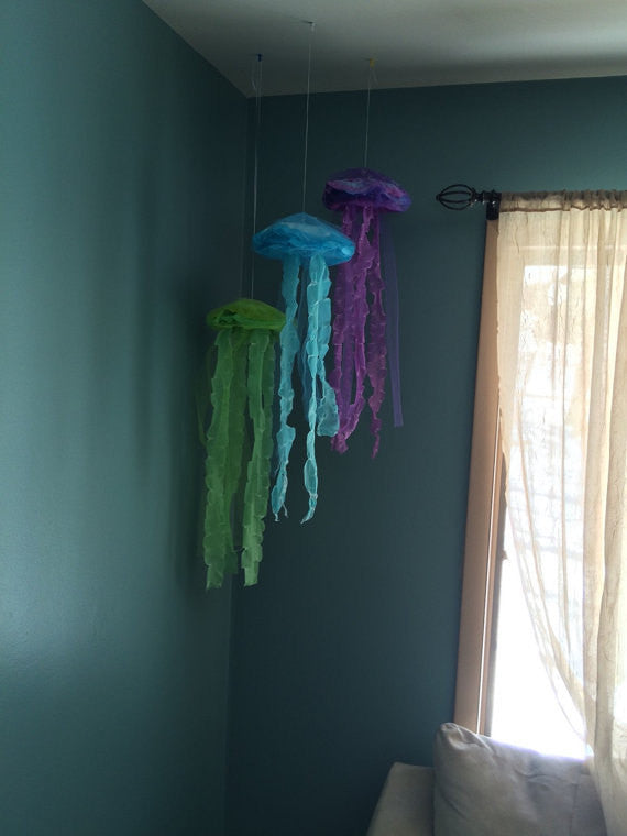 Discounted Hanging Jellyfish Mermaid under the sea decor Set of 3 or 5