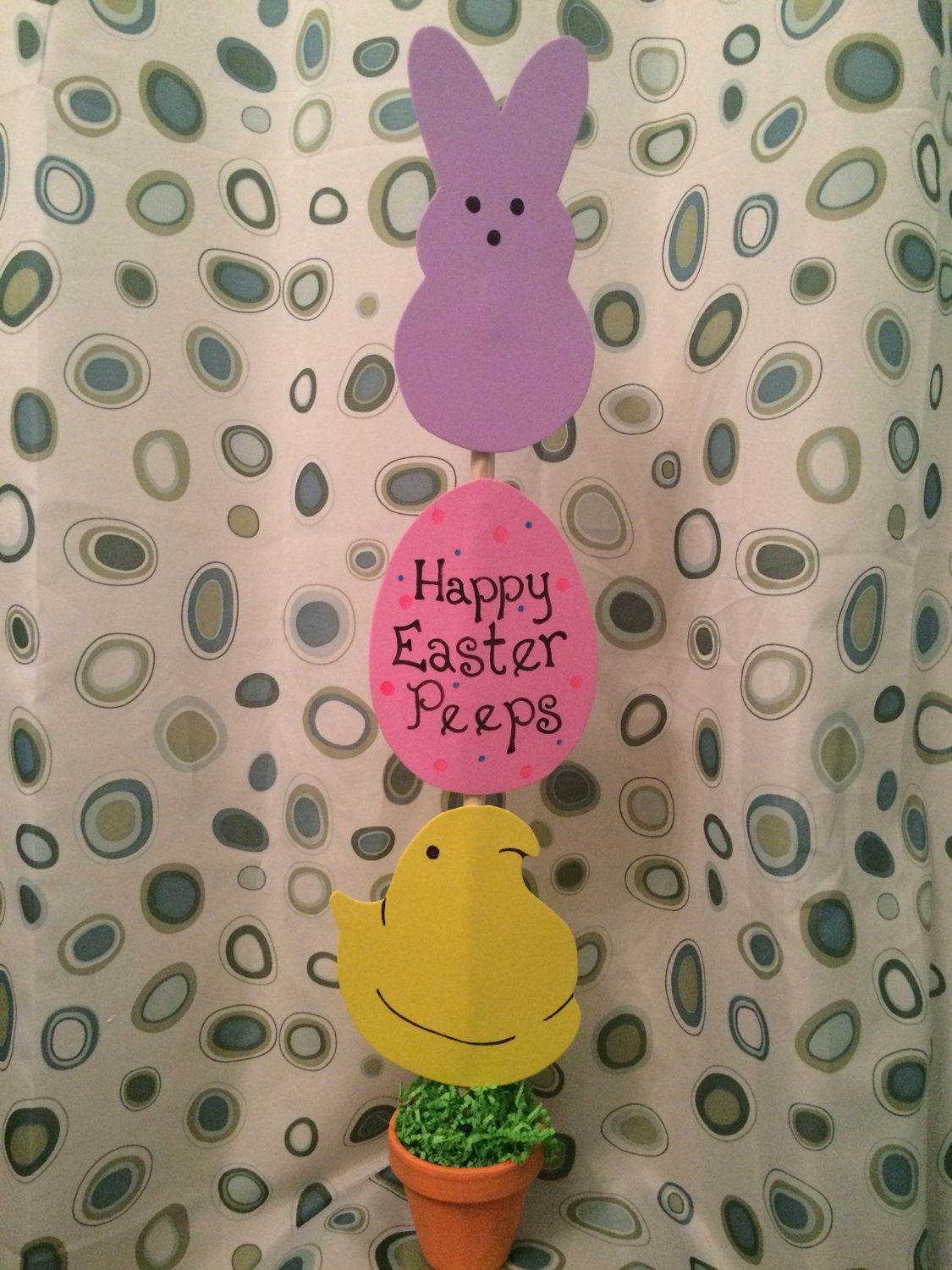 Easter Peep centerpiece decoration topiary Sign