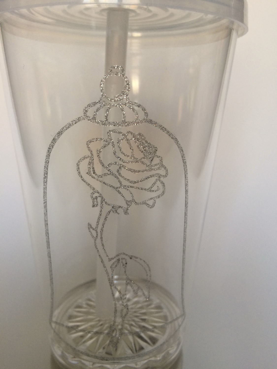 Enchanted Rose light up LED tumbler beauty and the beast inspired Disney