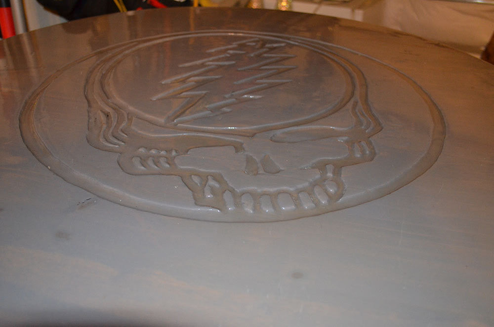 Hand Carved Grateful Dead inspired cafe style table