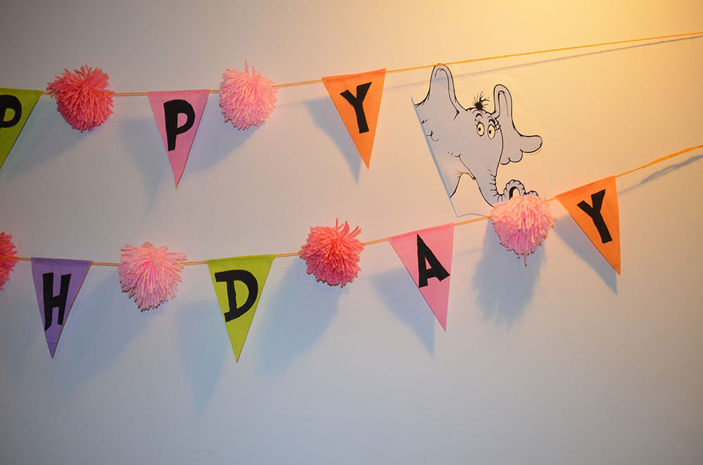 Girls Horton Hears a Who Oh the places you'll go Birthday Baby Shower Graduation Bunting Banner Photo Prop