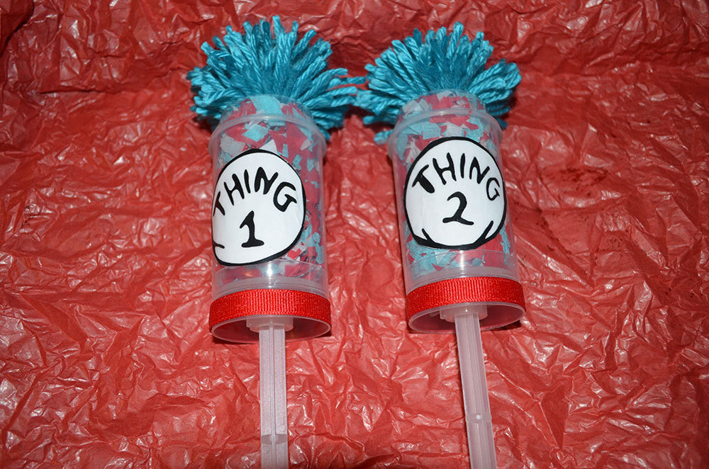 Dr Seuss Thing 1 Thing 2 Confetti Pops Cat in the Hat Photo Prop Set of 10