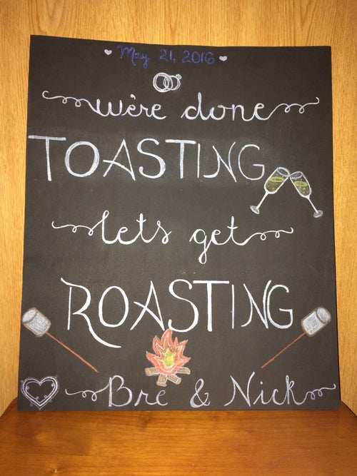 Wedding bonfire firepit chalkboard sign custom large hand made