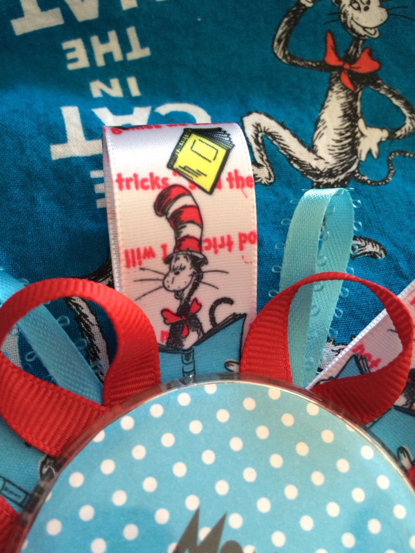 Dr. Seuss Cat in the Hat baby shower corsage mommy to be pin