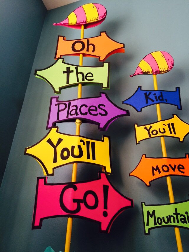 "DIY ""Oh The Places You'll Go!"" Sign Set"