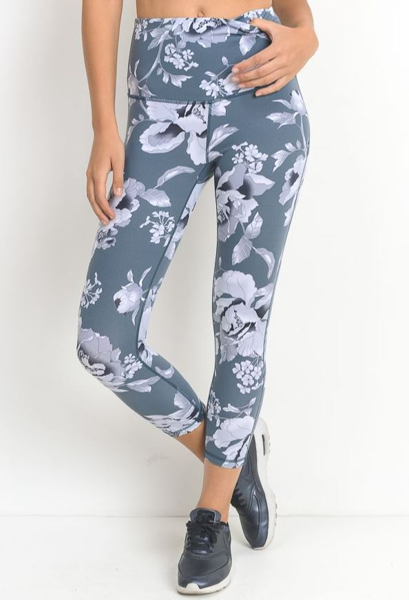 Spring Floral Print Yoga Leggings