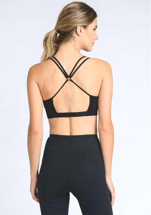 Black Strappy Sports Bra