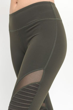Olive Ribbed Cut Out Yoga Legging