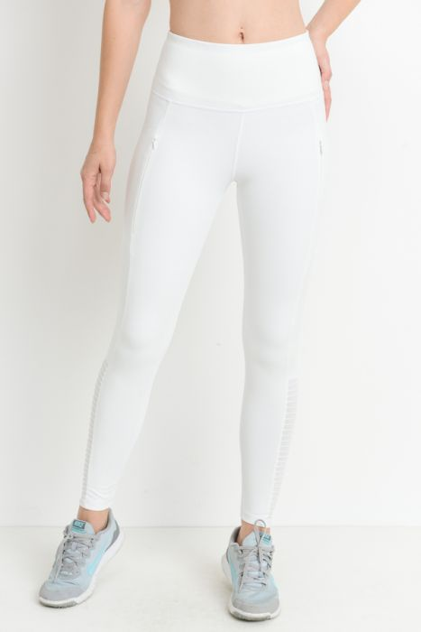 Crisp White Moto Mesh Leggings