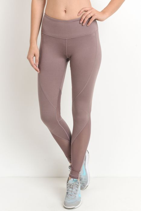 Sleek Mauve Mesh Panel Yoga Leggings