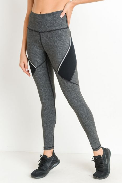 Grey Performance Color Block Yoga Leggings