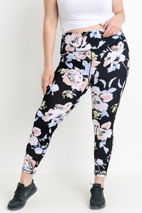 PLUS Highwaist Tropical Flower Print Yoga Legging