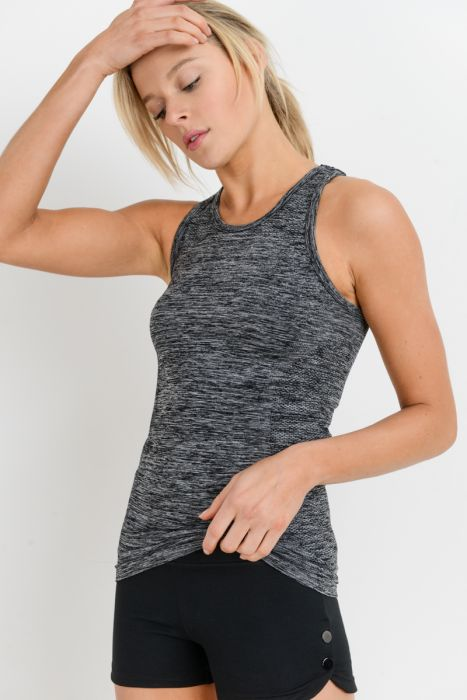 Seamless Racerback Crop Tank with Cut Out