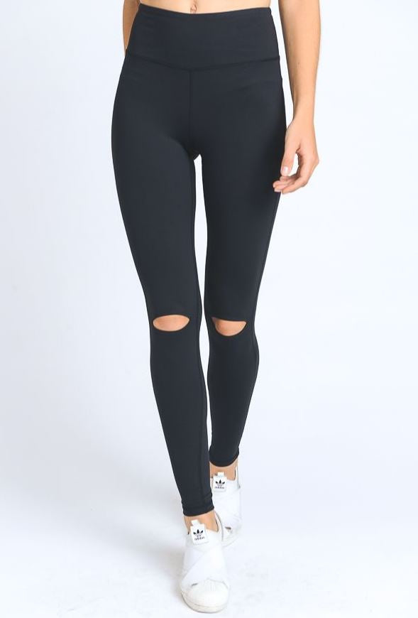 Black Knee Cut Yoga Legging
