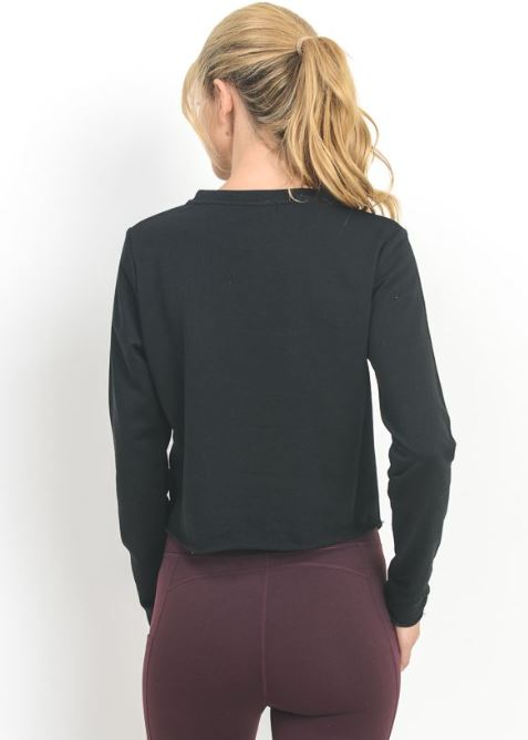 Black Front Knot Sweat Top