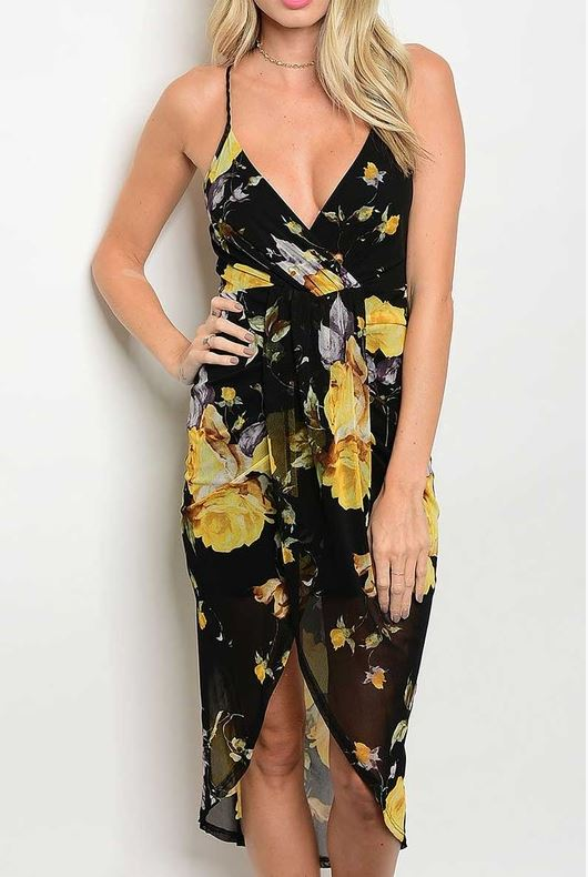 Sexy Black and Yellow Floral Dress