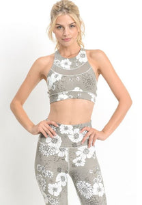Multi Flower Print Racer Back Sports Bra